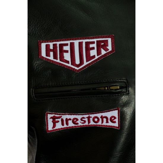 Steve McQueen Gulf Heuer Black Leather Jacket