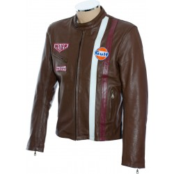 Steve McQueen Gulf Heuer Brown Leather Jacket