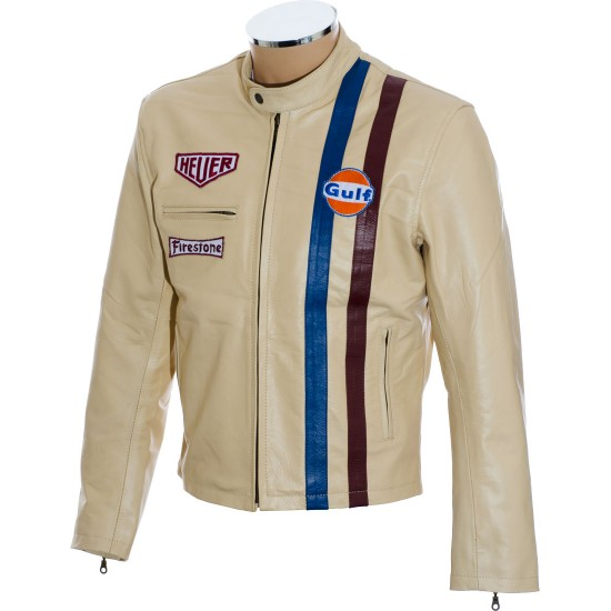 Steve McQueen Gulf Heuer Cream Leather Jacket