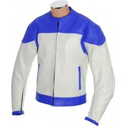 RTX Classic White Blue Leather Jacket