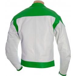 RTX Classic White Green Leather Biker Jacket