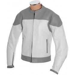 RTX Classic White Grey Leather Biker Jacket