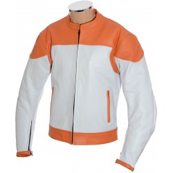 RTX Classic White Orange Leather Biker Jacket