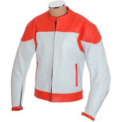 RTX Classic White Red Leather Biker Jacket