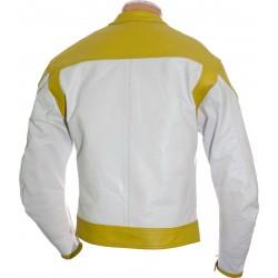 RTX Classic White Yellow Leather Biker Jacket